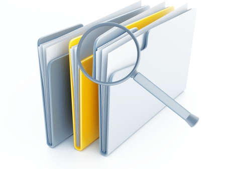 index card: folders with papers under magnifier on a white background Stock Photo