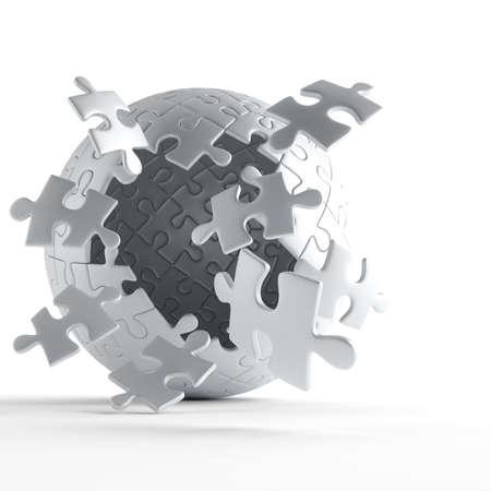 piezas de puzzle: explosión de bola de piezas de rompecabezas gris sobre fondo blanco Foto de archivo