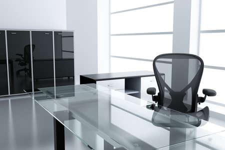 mobiliario de oficina: Luz cub�culo moderno con una mesa y un sill�n en un tiempo de descanso Foto de archivo