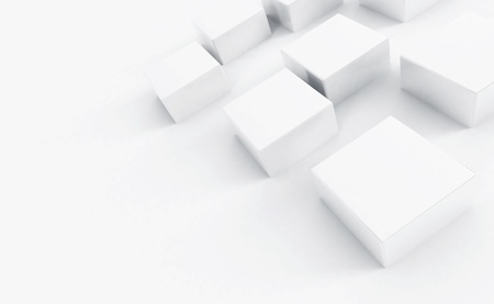 cubicle: Abstract white plastic cubes on a light background