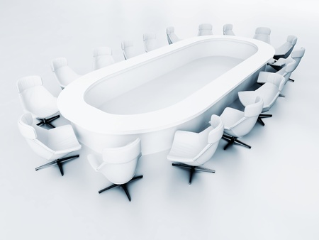 empty meeting room with a large table and many chairs Stock Photo - 16006715