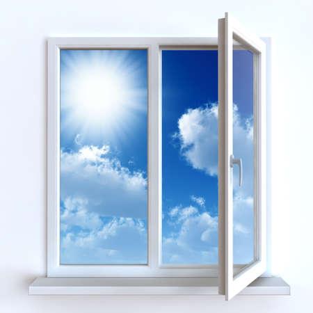ventana abierta: Ventana abierta contra una pared blanca y el cielo nublado y el sol Foto de archivo