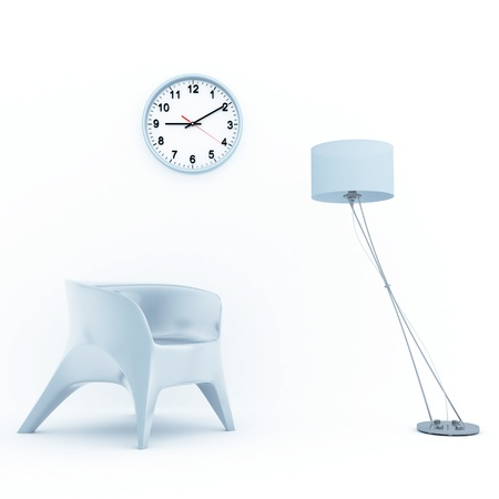 sofa lamp and clock in home interior Stock Photo - 16367524