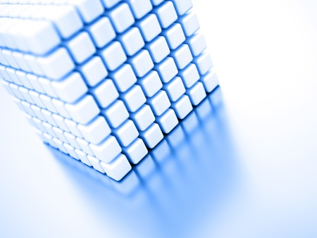 arranging: Abstract bright white cubes on a light background