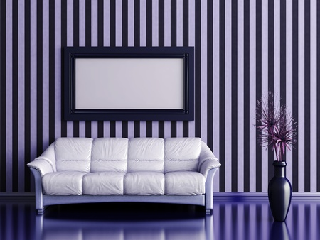 room wallpaper: interior with sofa and plant in a vase on a background of striped wall