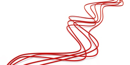 interconnect: fibre-optical red cables on a white background
