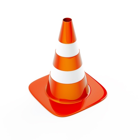 road worker: Cone pin of the red-white color used in construction on road