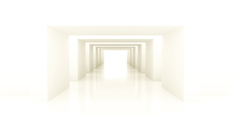 diminishing point: shined corridor with columns and light making the way ahead
