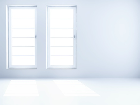 through the window: empty clear room with light from windows