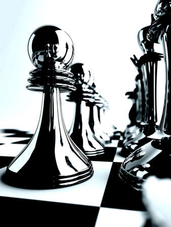 chessmen of black color on checkered board photo