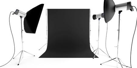 photo studio equipment with flashes and background photo