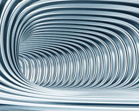 nobody: abstract metallic tunnel as futuristic background Stock Photo