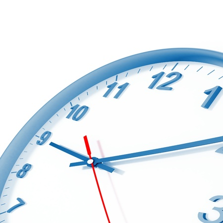 beat the clock: analog clock with blue border and arrows on a white background