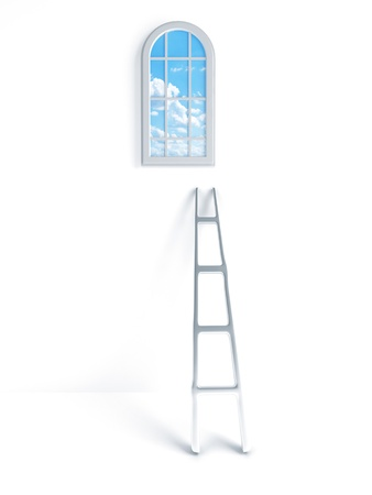 ladder against the wall and the window with clouds and blue sky photo