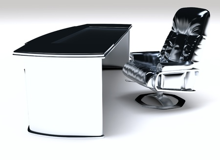 desk work: modern work desk and chair on a white background Stock Photo