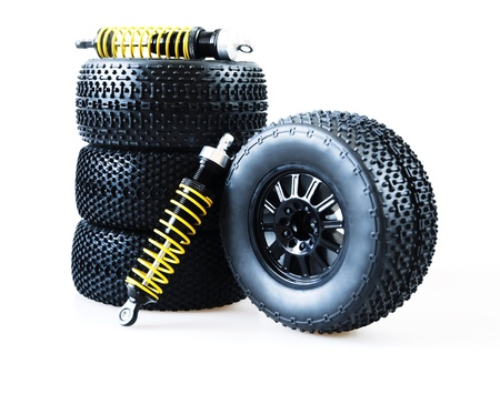 wheels and shock absorbers on a white background Stock Photo - 21410849