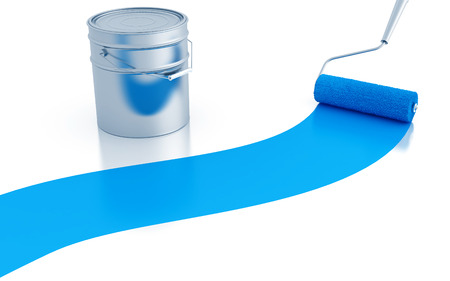 strip of blue paint and roller and metal canister photo