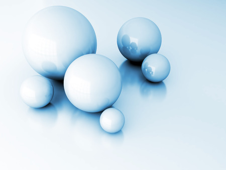 smoothed: light metallic balls as technological and abstract background Stock Photo