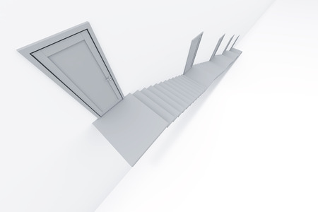 upraise: step up and closed doors on a white wall