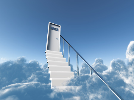 staircases: stair in clouds to a boss door on a background blue sky