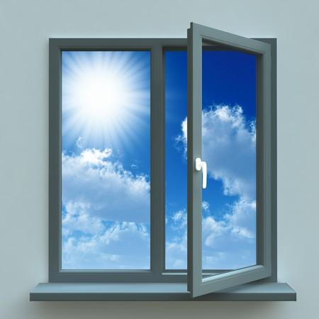 ventana abierta interior: Ventana abierta en contra de una pared azul y el cielo nublado y el sol Foto de archivo