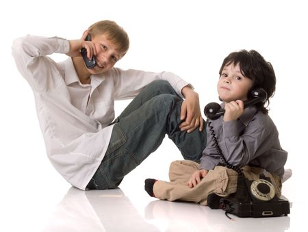 Two boys with a telephone photo