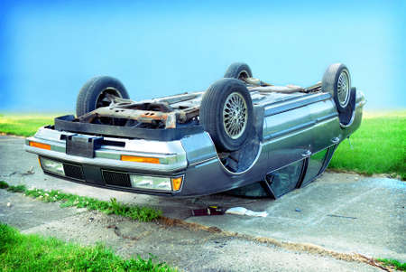upside down: car wreck