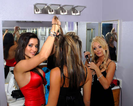 women doing hair photo