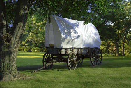covered wagon: covered wagon Stock Photo