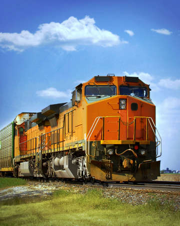 railroad transport: cargo train
