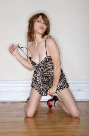 nightgown: fashion model Stock Photo