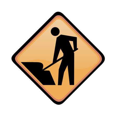 information highway: Man at work sign