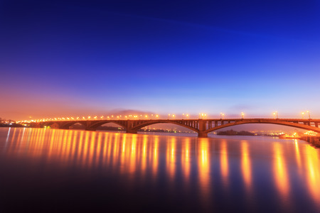 lapse: The Bridge Over the Yenisei River, Krasnoyarsk, Russia, Time Lapse