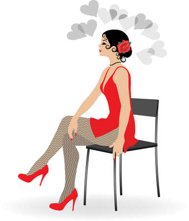 legs stockings: The beautiful girl in a short red dress and stockings sits on a chair
