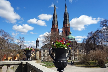 christanity: Uppsala Cathedral in early spring