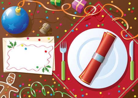 dinner setting: Mesa de la cena de Navidad Vectores