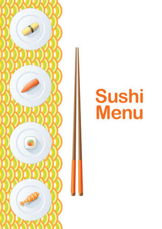 Sushi menu template Illustration
