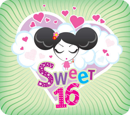 sweet heart: Vector Sweet Sixteen greeting card Illustration