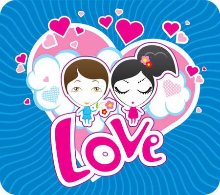 Vector Valentine postcard Illustration