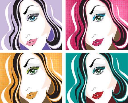 red head woman: Four vector pop art portraits
