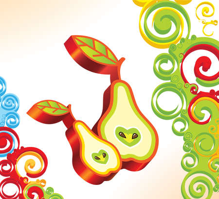 Vector background with two 3D pears Vector