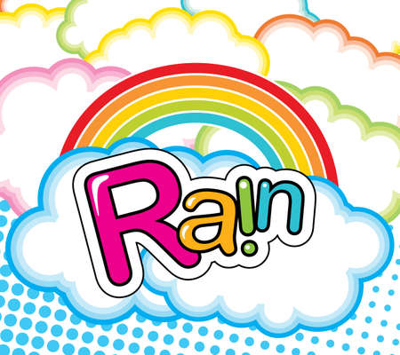 Vector funky illustration with clouds and rainbow Vector