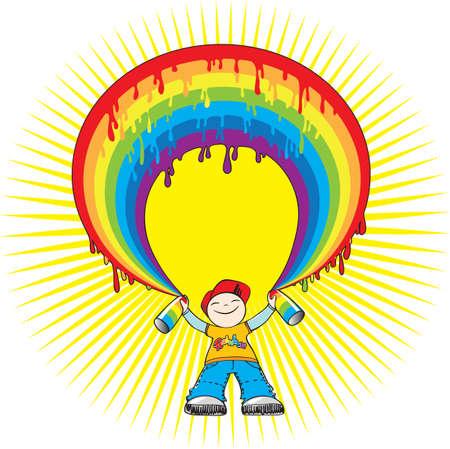 Vector illustration of a boy spraying rainbow Stock Vector - 4819489