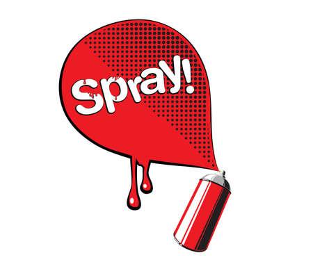 Vector pop art illustration of the red graffiti spray Vector