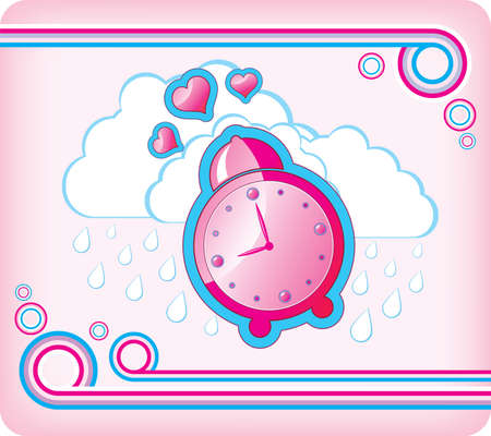 Vector illustration with pink alarm clock Vector