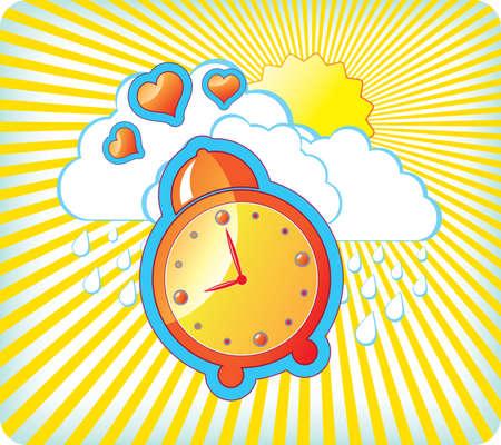 Vector illustration with orange alarm clock Vector