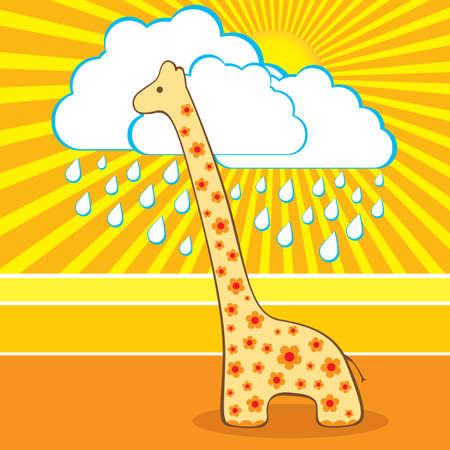 Vector illustration of the cute giraffe Vector