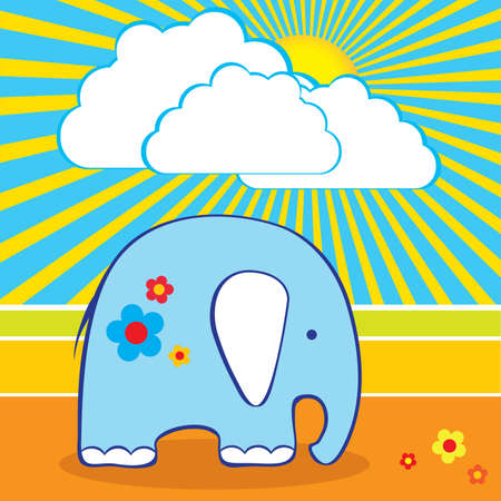 Vector illustration of the cute elephant Vector