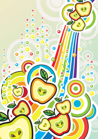 Funky colourful background with apples and rainbow Vector