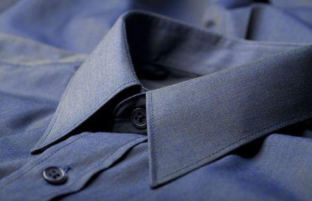 smocking: Dark blue business shirt collar